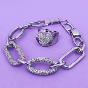 Bracciale in metallo e cristallo argento Rush
