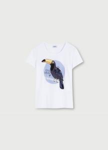 LIU JO WA1321J5003 T-shirt con stampa  tucano e applicazioni