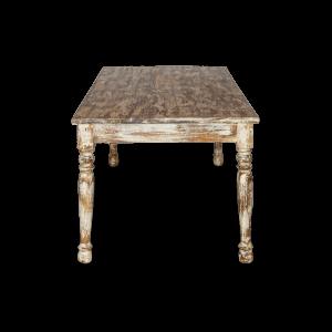 Tavolo in legno di mango indiano decapato cream antique