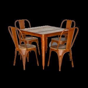 Tavolo in ferro color mattone con top in legno recuperato di teak