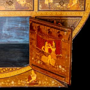 Buffet dipinto a mano in legno massello di mango dipinto a mano