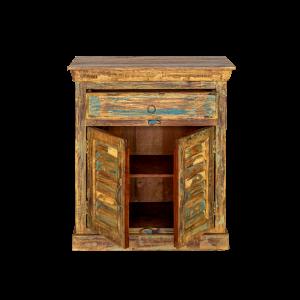 Credenza piccola in legno di teak recuperato con 1 cassetto e 2 ante