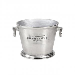 Secchiello champagne portabottiglie ovale con manici, alluminio color argento, per 2 o 3 bottiglie