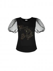 LIU JO WA1564J6040T9325 T-shirt con manica in organza