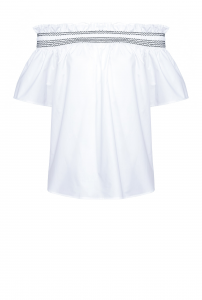 Blusa Istruito off-shoulders in popeline bianca Pinko