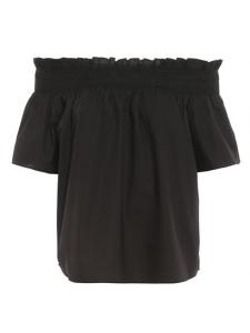 Blusa Istruito off-shoulders in popeline nera Pinko