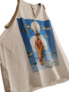 canotta donna | in cotone stampato | con scollo a V | modello morbido | con giromanica profilato borchie e leopard | Made in Italy