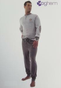 OGHAM. Pigiama Uomo invernale, bordato Caldo Cotone 100%. art. 134 mod. Serafino
