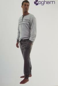 OGHAM. Pigiama Uomo invernale, bordato Caldo Cotone 100%. art. 130 mod. Serafino