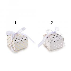 Scatolina carta con cuori metallizzati e fiocco raso cm 6 x 6 x 5,5 H