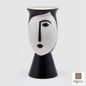 Vaso Nefertari bianco e nero