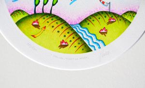 Ghelli Giuliano Staccare l'ombra da terra Serigrafia Formato cm 29,5x29,5