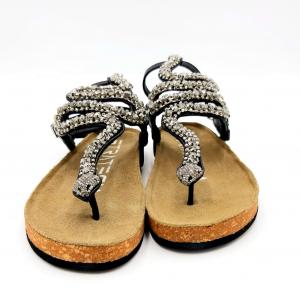 Sandalo con serpente in cristalli pelle nera Strategia