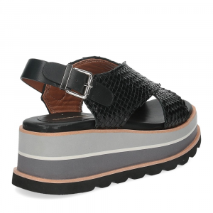 Rahya Grey sandalo bianca pelle nera-5