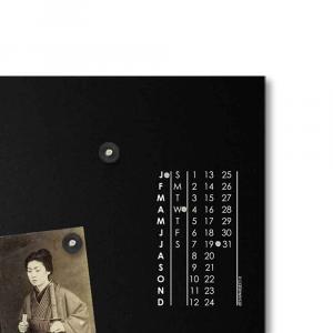 Orologio da muro con calendario e organizer S-enso nero 30x100 cm