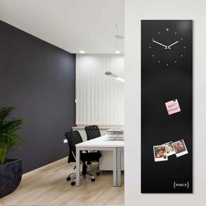 Orologio da muro con organizer Post-it nero 30x100 cm