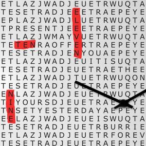 Orologio da muro Crosswords laccato nero