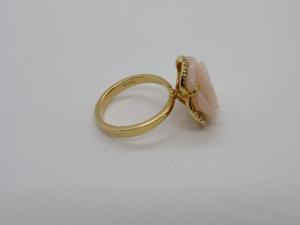 Anello in Oro rosè 18 kt con Opale Rosa e Diamanti