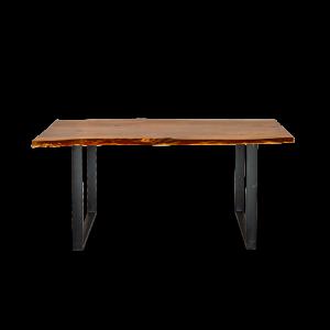 Tavolo in legno di acacia indiana sagoma tronco con gambe in ferro