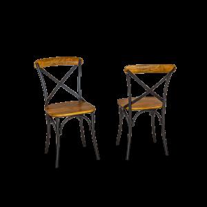 Sedia in ferro e legno di acacia