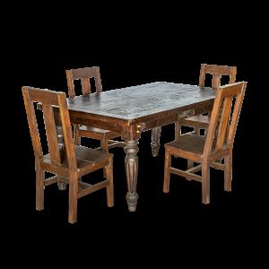 Tavolo in legno di teak indonesiano con intaglio floreale