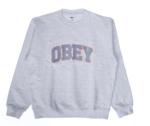 Felpa Obey Sports III Crew Ash Grey