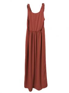 Abito donna | in viscosa di cotone color marsala |  smanicato con nodi sulla spalla | taglaito in vita | lunghezza alla caviglia| Made in Italy