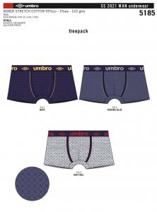3 Boxer da uomo colorati in cotone elasticizzato in fantasia UMBRO