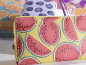 Portafoglio donna similpelle design Bit Fruit con cerniera