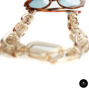 Catenella occhiali in resina Oversize CHAMPAGNE