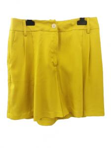 Bermuda donna|viscosa gialla|tasche laterali|gamba larga|Made in Italy