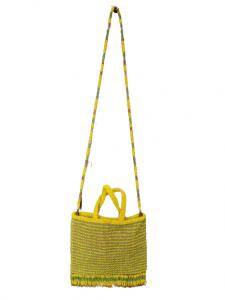 Borsa donna| lavorata| perline | manici e tracolla | giallo acido|Made in Italy