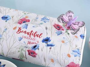 Portafoglio donna similpelle design Farfalle con cerniera