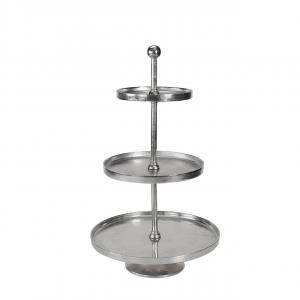 Alzata tonda a 3 piani per dolci e frutta in alluminio anodizzato argento cm.65h diam.38