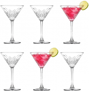 Set 6 pezzi coppe Martini in vetro, Vintage, Timeless cl 23 cm.17,2h diam.11,6