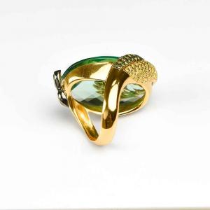 Anello design pavone in argento, ossidiana verde e zirconi colorati