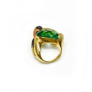 Anello design tucano in argento, ossidiana verde e zirconi colorati