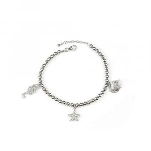 Bracciale in argento con charms animali marini e zirconi bianchi
