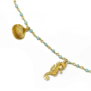 Collana con sfere in pasta di turchese e charms animali marini