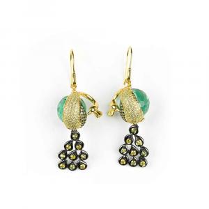Orecchini pendenti pavone in argento con ossidiana verde e zirconi