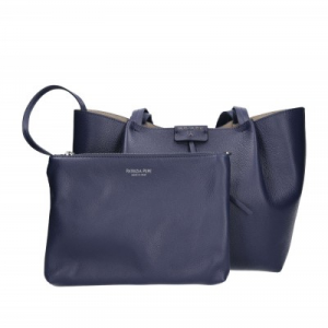 Borsa shopping media in pelle colore dress blu - PATRIZIA PEPE