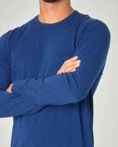 Maglia blu royal girocollo in crêpe di cotone