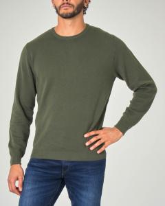 Maglia verde militare girocollo in cotone micro armatura