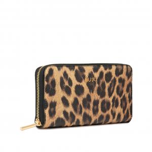 Portafoglio XL Zip Around leopardo marrone LIU JO