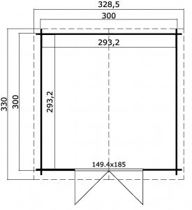 CASETTA LEGNO CM  320 X 320 SPESSORE MM 34 CON PAVIMENTO