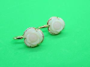Orecchini in Oro rosè 18 kt con Opale Rosa e Diamanti
