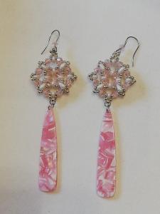 Orecchini con goccia in resina rosa | Vendita on line