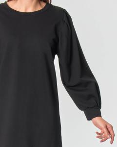 Abito nero corto in jersey di misto viscosa con spalle a sbuffo