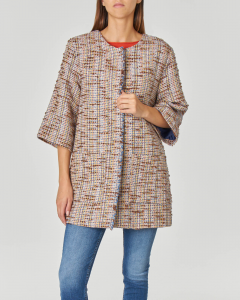 Caban in misto cotone stuoia multicolor con profili sfrangiati e maxi faldone sulla schiena