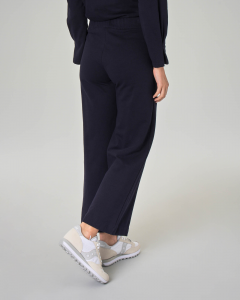 Pantaloni in jersey di cotone blu con fondo ampio